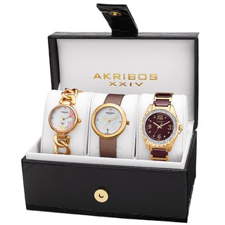 Akribos XXIV Women's Quartz Diamonds Bracelet/Gold-Tone Strap Watches Set with FREE GIFT - Gold