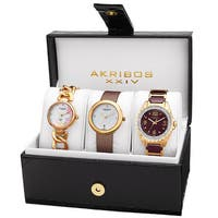 Akribos XXIV Women's Quartz Diamonds Bracelet/Gold-Tone Strap Watches Set with FREE Bangle - GOLD