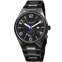 Akribos XXIV Men's Swiss Quartz Dual-Time Multifunction Stainless Steel Black Bracelet Watch