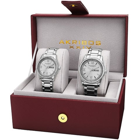 Akribos XXIV His & Hers Quartz Crystal-Accented Stainless Steel Silver-Tone Bracelet Watch