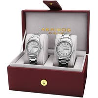Akribos XXIV His & Hers Quartz Crystal-Accented Stainless Steel Silver-Tone Bracelet Watch - Silver