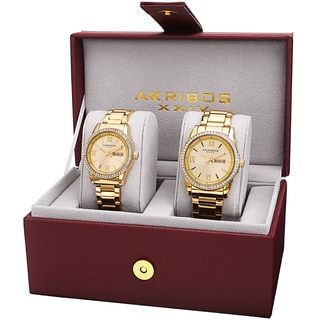 Akribos XXIV His & Hers Quartz Crystal-Accented Stainless Steel Gold-Tone Bracelet Watch