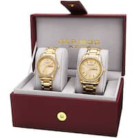 Akribos XXIV His & Hers Quartz Crystal-Accented Stainless Steel Gold-Tone Bracelet Watch with FREE Bangle - gold-ton