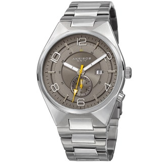 Akribos XXIV Men's Swiss Quartz Dual-Time Multifunction Stainless Steel Grey Bracelet Watch