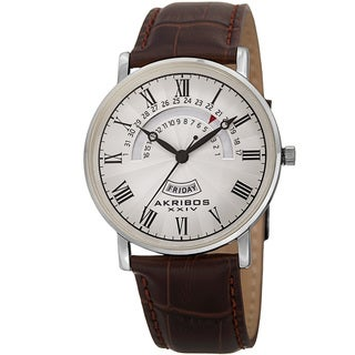 Akribos XXIV Men's Quartz Retrograde Date/Day Leather Silver-Tone Strap Watch