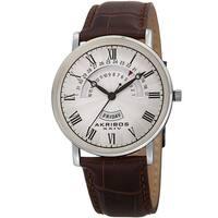 Akribos XXIV Men's Quartz Retrograde Date/Day Leather Silver-Tone Strap Watch - brown