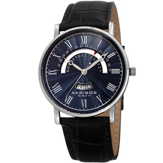 Akribos XXIV Men's Quartz Retrograde Date/Day Leather Silver-Tone Strap Watch with FREE GIFT - Blue