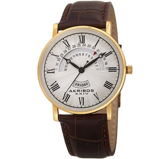 Akribos XXIV Men's Quartz Retrograde Date/Day Leather Gold-Tone Strap Watch