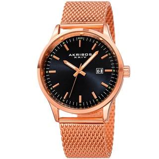 Akribos XXIV Men's Quartz Stainless Steel Mesh Rose-Tone Bracelet Watch