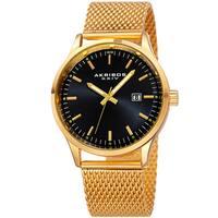 Akribos XXIV Men's Quartz Stainless Steel Mesh Black Bracelet Watch