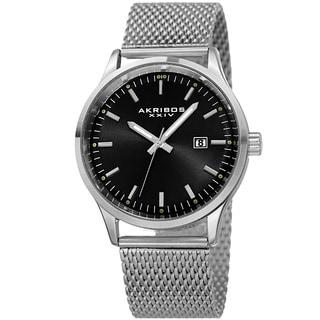 Akribos XXIV Men's Quartz Stainless Steel Mesh Silver-Tone Bracelet Watch
