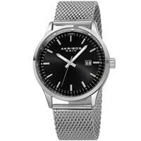 Akribos XXIV Men's Quartz Stainless Steel Mesh Silver-Tone Bracelet Watch - black