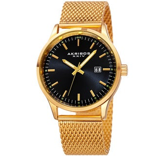Akribos XXIV Men's Quartz Stainless Steel Mesh Gold-Tone Bracelet Watch with Gift Box - Gold