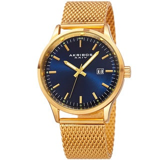 Akribos XXIV Men's Quartz Stainless Steel Mesh Gold-Tone Bracelet Watch - Gold