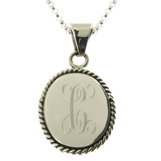 "Handmade Sterling Silver Personalized Oval Rope Edge Pendant Necklace (Mexico) - 18""L"