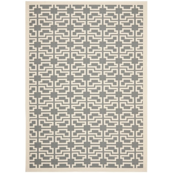 Safavieh Courtyard Trellis Anthracite/ Beige Indoor/ Outdoor Rug - 9' x 12'6""