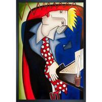 Vantuan Nguyen 'Businessman' Hand Painted Framed Canvas Art