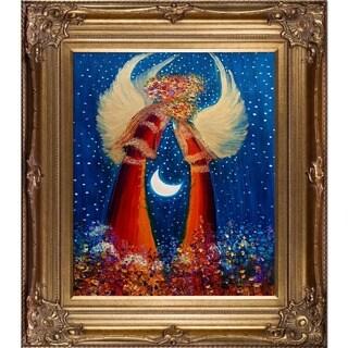 Justyna Kopania 'Angels III' Hand Painted Framed Canvas Art