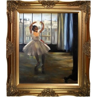 Edgar Degas 'Dancer Posing' Hand Painted Framed Canvas Art