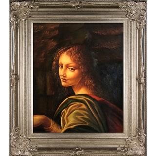 Leonardo Da Vinci 'The Virgin of the Rocks' (detail - young woman) Hand Painted Framed Canvas Art