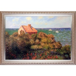 Claude Monet 'The Fisherman's Cottage at Pourville' Hand Painted Framed Canvas Art