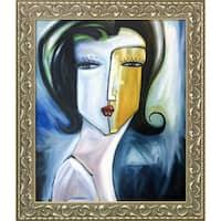 Vantuan Nguyen 'Trinh' Hand Painted Framed Canvas Art