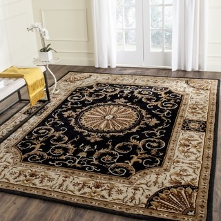 Safavieh Handmade Empire Dani Traditional Oriental Wool Rug (96 x 136 - Black/Ivory)