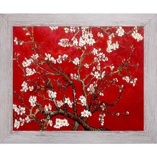 Vincent Van Gogh 'Branches Of An Almond Tree In Blossom' (Interpretation in Red) Hand Painted Framed Canvas Art