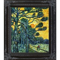 Vincent Van Gogh 'Pine Trees against a Red Sky with Setting Sun' Hand Painted Framed Canvas Art