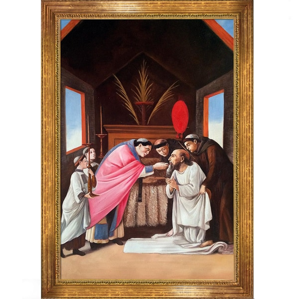 Sandro Botticelli 'Last Communion of St Jerome' Hand Painted Framed Canvas Art