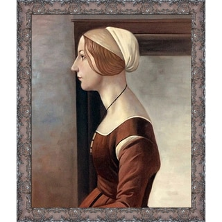 Sandro Botticelli 'Portrait of a Young Woman' Hand Painted Framed Canvas Art