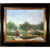 Vincent Van Gogh 'Couples in the Voyer d Argenson Park at Asnierse' Hand Painted Framed Canvas Art