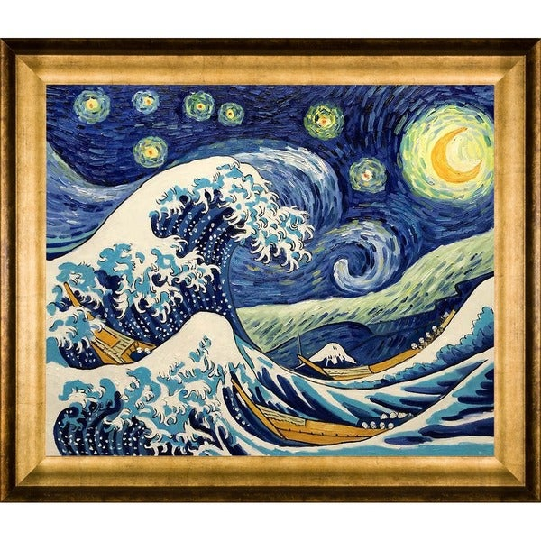 Shop Vincent Van Gogh  Starry Night Wave Collage  (Artist Interpretation) Hand  Painted Framed Canvas Art - On Sale - Free Shipping Today - Overstock - ... 5780cdb56