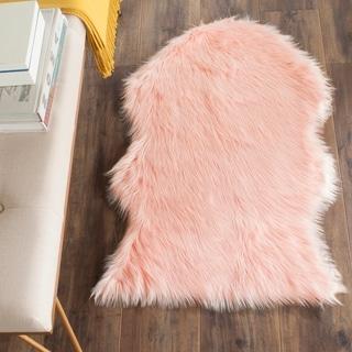 Safavieh Handmade Faux Sheepskin Pink Japanese Acrylic Rug (2' x 3')