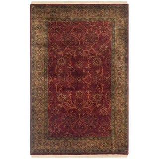 Safavieh Couture Hand-knotted Ganges River Shantell Traditional Oriental Wool Rug with Fringe (26 x 4 - Rust/Green)