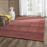 Safavieh Handmade Himalaya Red/ Multicolored Wool Stripe Rug - 6' X 6' Square