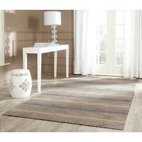 Safavieh Handmade Himalaya Grey/ Multicolored Wool Stripe Rug - 6' Square