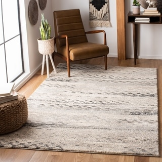 Safavieh Retro Modern Abstract Cream/ Grey Distressed Area Rug (6' Square)