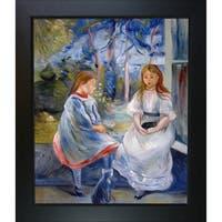 Berthe Morisot 'Little Girls at the Window' Hand Painted Framed Canvas Art