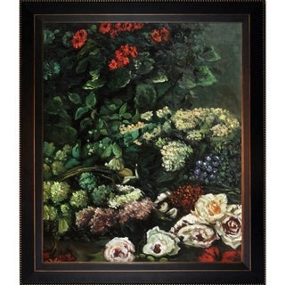 Claude Monet 'Spring Flowers' Hand Painted Framed Canvas Art