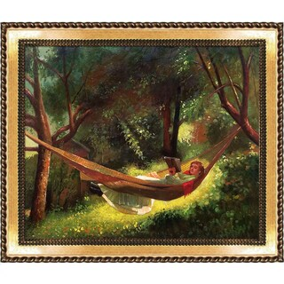 Winslow Homer 'Girl in a Hammock'   Hand Painted Framed Canvas Art