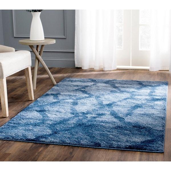 Safavieh Retro Modern Abstract Blue/ Dark Blue Distressed Rug - 10' x 14'