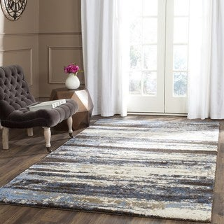 Safavieh Retro Modern Abstract Cream/ Blue Distressed Rug (11' x 15')