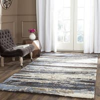 Safavieh Retro Modern Abstract Cream/ Blue Distressed Rug - 11' x 15'