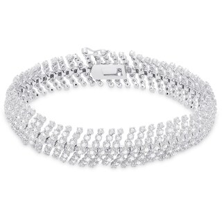 Finesque Sterling Silver 3ct TDW Diamond Bracelet