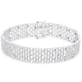 Finesque Sterling Silver 1 2ct TDW Diamond Lattice Design Bracelet