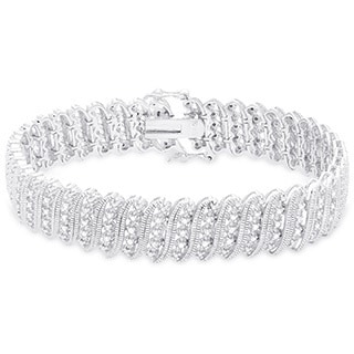Finesque Sterling Silver 1/2ct TDW Diamond 'S' Link Bracelet (I-J, I2-I3)