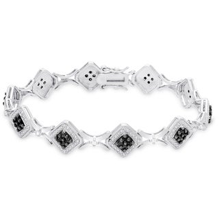 Finesque Sterling Silver 1ct TDW Black and White Diamond Bracelet (I-J, I2-I3)