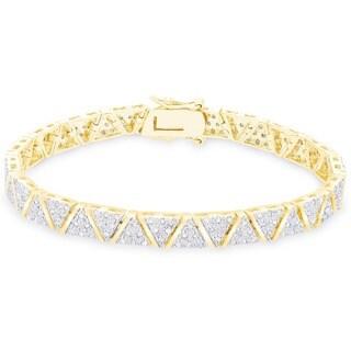 Finesque Sterling Silver 2ct TDW Diamond 'V' Link Bracelet (I-J, I2-I3)