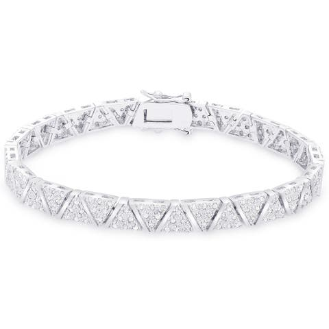 Finesque Sterling Silver 2ct TDW Diamond 'V' Link Bracelet